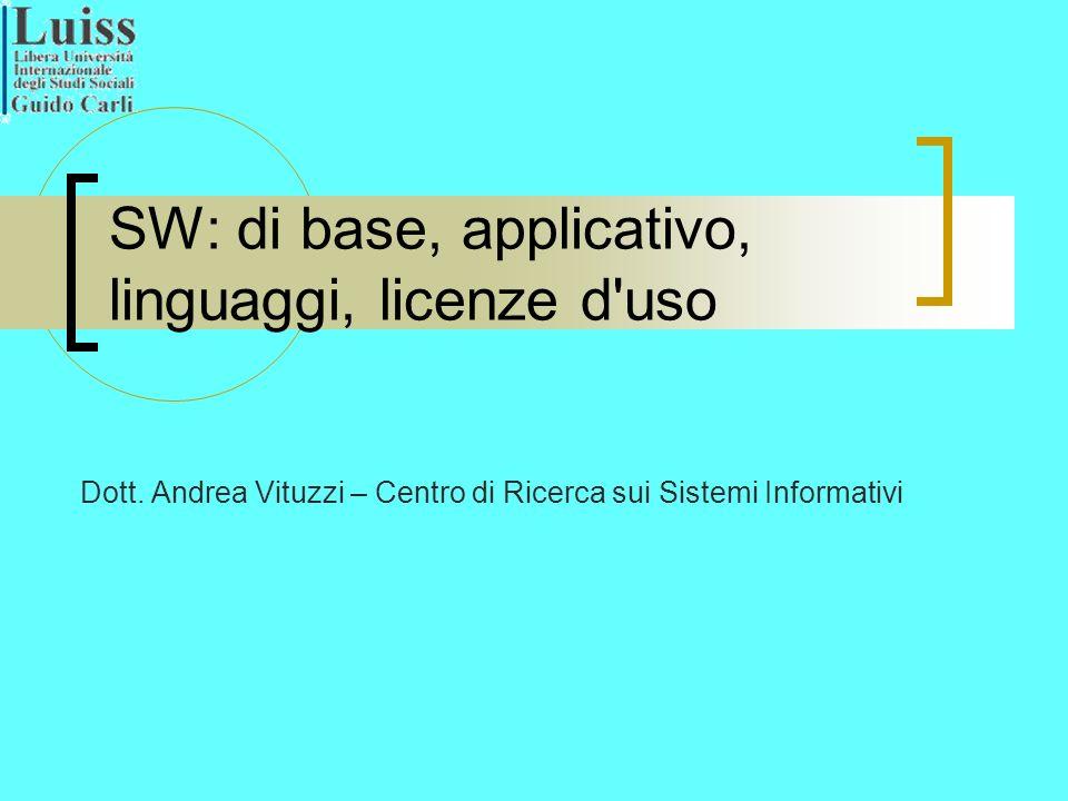SW: di base, applicativo, linguaggi, licenze d uso Dott.