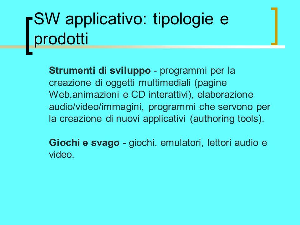 SW applicativo: tipologie e prodotti Strumenti di sviluppo - programmi per la creazione di oggetti multimediali (pagine Web,animazioni e CD interattivi), elaborazione audio/video/immagini, programmi che servono per la creazione di nuovi applicativi (authoring tools).