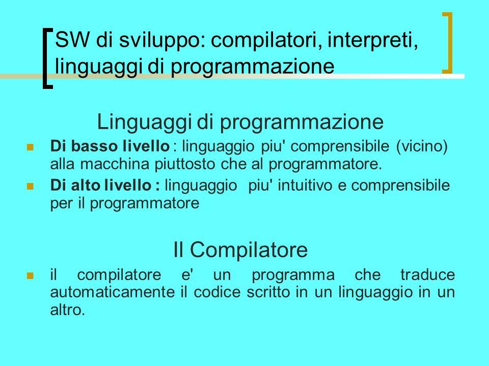SW di sviluppo: compilatori, interpreti, linguaggi di programmazione Linguaggi di programmazione Di basso livello : linguaggio piu comprensibile (vicino) alla macchina piuttosto che al programmatore.