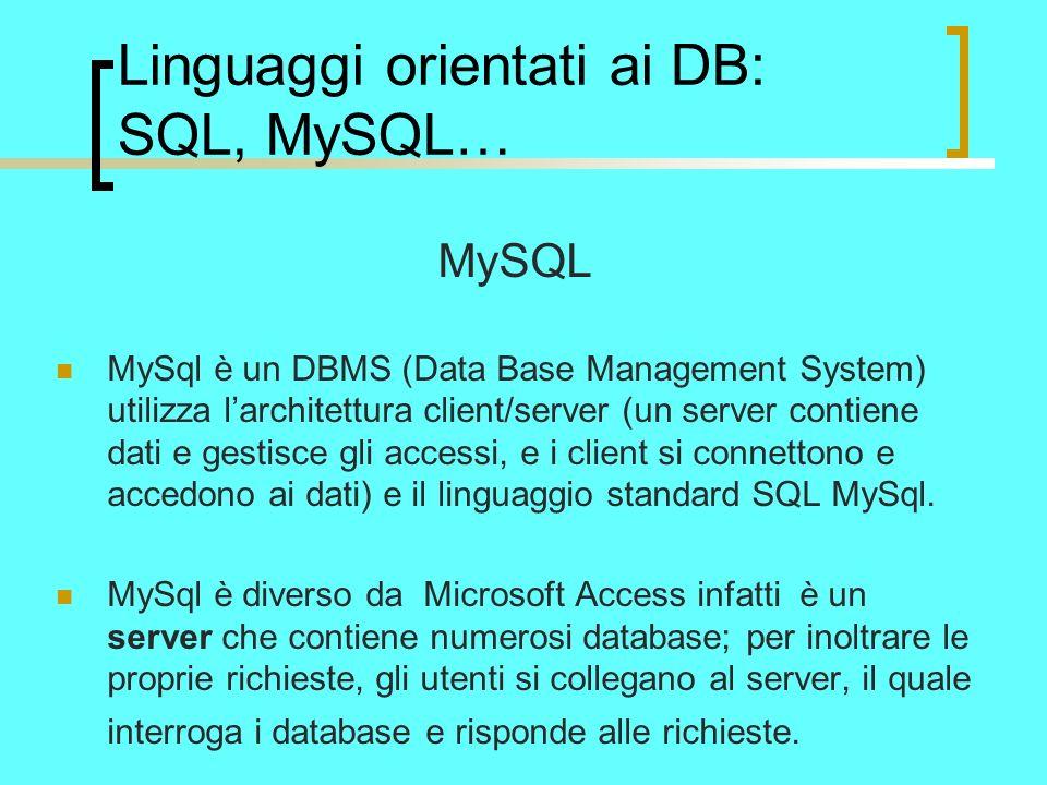 Linguaggi orientati ai DB: SQL, MySQL… MySQL MySql è un DBMS (Data Base Management System) utilizza larchitettura client/server (un server contiene dati e gestisce gli accessi, e i client si connettono e accedono ai dati) e il linguaggio standard SQL MySql.