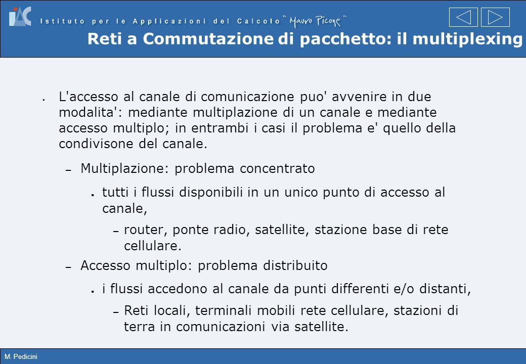 M. Pedicini L'accesso al canale di comunicazione puo' avvenire in due modalita': mediante multiplazione di un canale e mediante accesso multiplo; in e