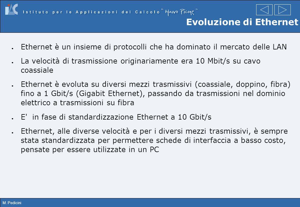 M. Pedicini Evoluzione di Ethernet Ethernet è un insieme di protocolli che ha dominato il mercato delle LAN La velocità di trasmissione originariament