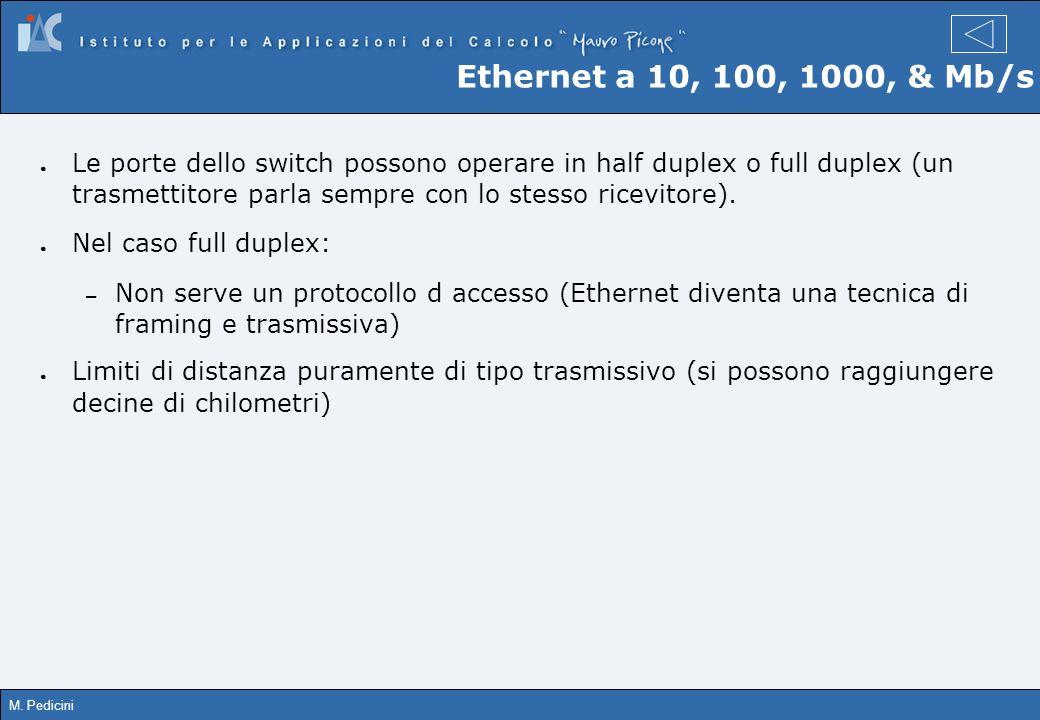 M. Pedicini Ethernet a 10, 100, 1000, & Mb/s Le porte dello switch possono operare in half duplex o full duplex (un trasmettitore parla sempre con lo