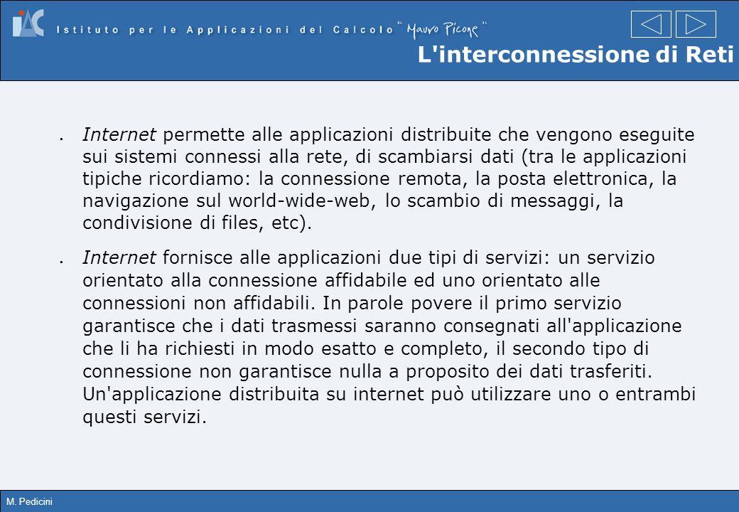 M. Pedicini Internet permette alle applicazioni distribuite che vengono eseguite sui sistemi connessi alla rete, di scambiarsi dati (tra le applicazio