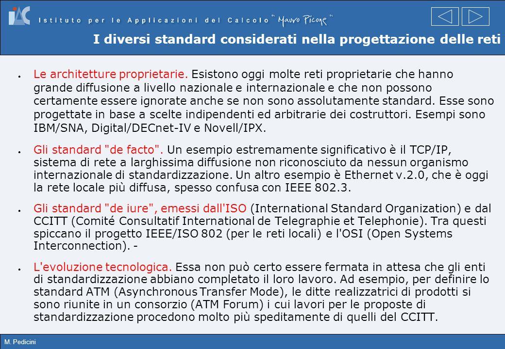 M. Pedicini I diversi standard considerati nella progettazione delle reti Le architetture proprietarie. Esistono oggi molte reti proprietarie che hann