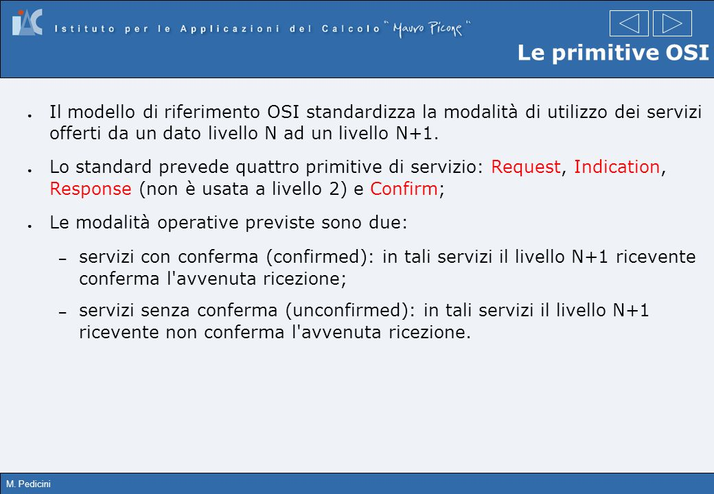 M. Pedicini Le primitive OSI Il modello di riferimento OSI standardizza la modalità di utilizzo dei servizi offerti da un dato livello N ad un livello