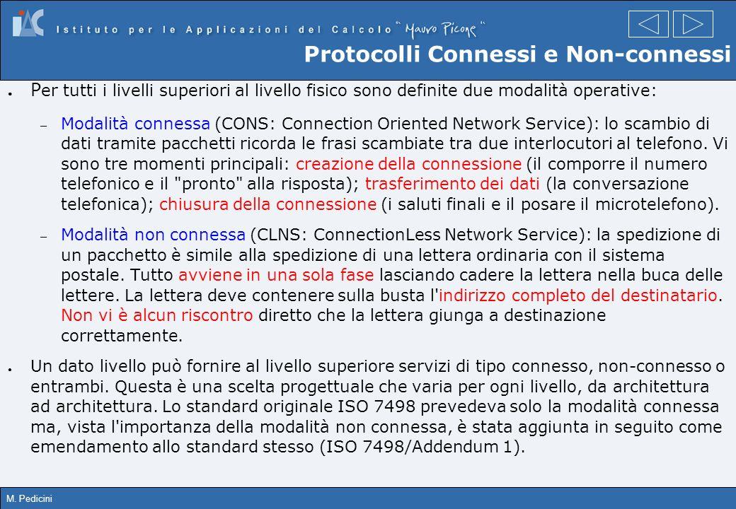 M. Pedicini Protocolli Connessi e Non-connessi P er tutti i livelli superiori al livello fisico sono definite due modalità operative: – Modalità conne