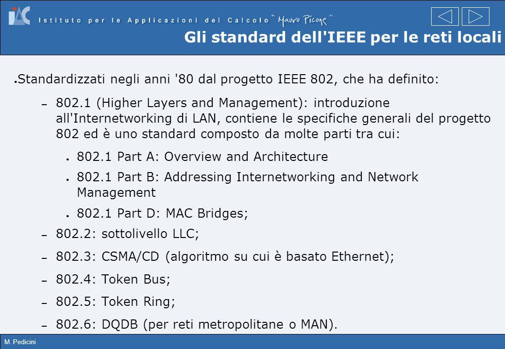 M. Pedicini Gli standard dell'IEEE per le reti locali Standardizzati negli anni '80 dal progetto IEEE 802, che ha definito: – 802.1 (Higher Layers and