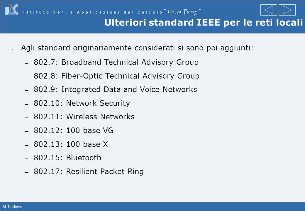 M. Pedicini Ulteriori standard IEEE per le reti locali Agli standard originariamente considerati si sono poi aggiunti: – 802.7: Broadband Technical Ad