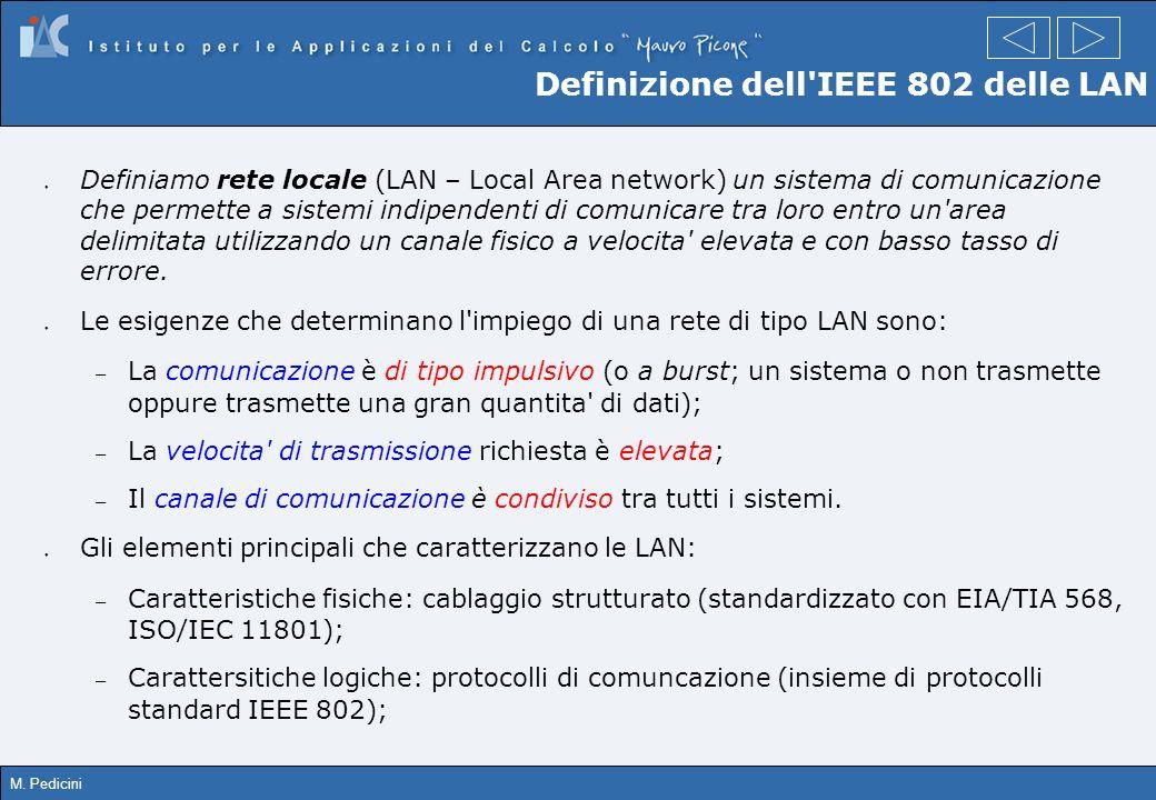 M. Pedicini Definizione dell'IEEE 802 delle LAN Definiamo rete locale (LAN – Local Area network) un sistema di comunicazione che permette a sistemi in