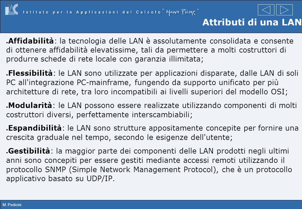 M. Pedicini Attributi di una LAN Affidabilità: la tecnologia delle LAN è assolutamente consolidata e consente di ottenere affidabilità elevatissime, t
