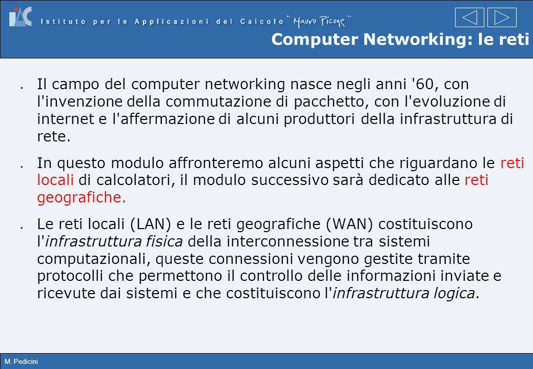 M. Pedicini Computer Networking: le reti Il campo del computer networking nasce negli anni '60, con l'invenzione della commutazione di pacchetto, con
