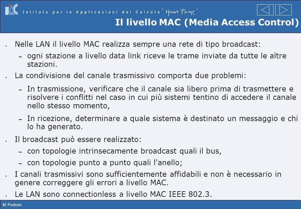 M. Pedicini Il livello MAC (Media Access Control) Nelle LAN il livello MAC realizza sempre una rete di tipo broadcast: – ogni stazione a livello data