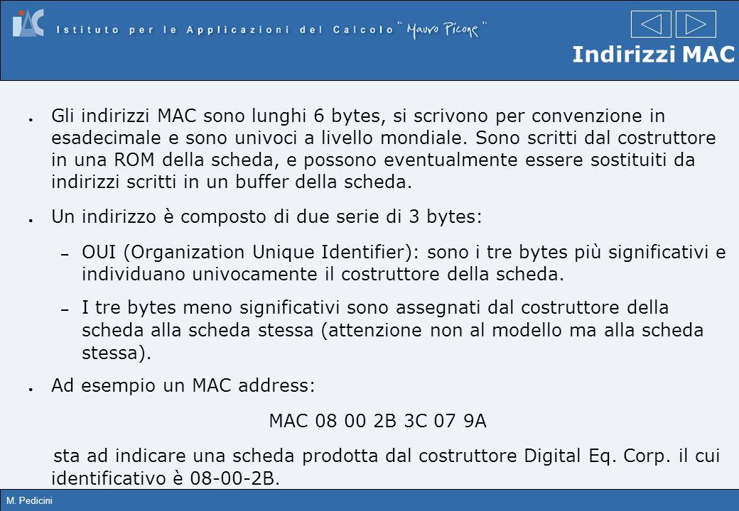 M. Pedicini Indirizzi MAC Gli indirizzi MAC sono lunghi 6 bytes, si scrivono per convenzione in esadecimale e sono univoci a livello mondiale. Sono sc
