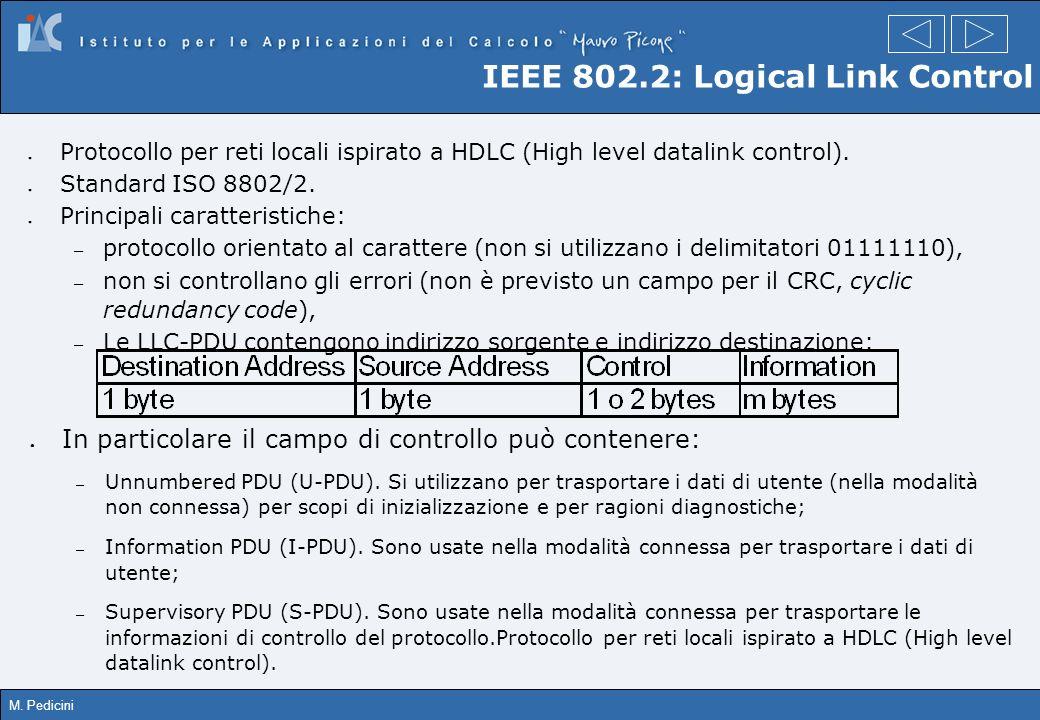 M. Pedicini IEEE 802.2: Logical Link Control Protocollo per reti locali ispirato a HDLC (High level datalink control). Standard ISO 8802/2. Principali