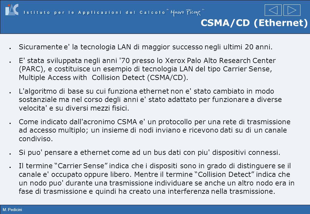 M. Pedicini CSMA/CD (Ethernet) Sicuramente e' la tecnologia LAN di maggior successo negli ultimi 20 anni. E' stata sviluppata negli anni '70 presso lo