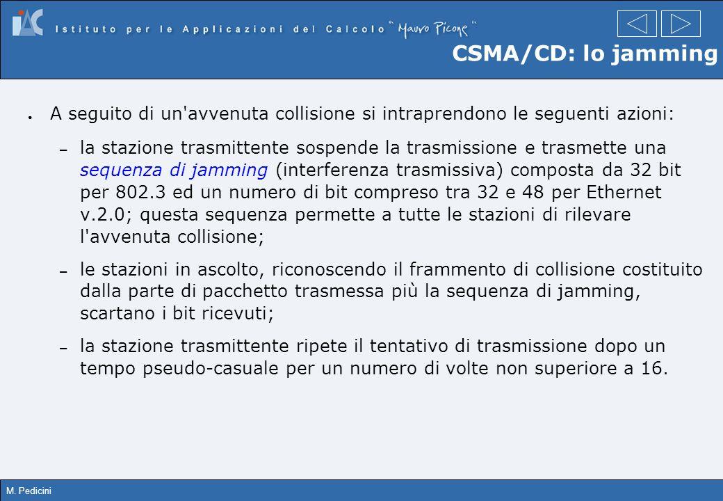 M. Pedicini CSMA/CD: lo jamming A seguito di un'avvenuta collisione si intraprendono le seguenti azioni: – la stazione trasmittente sospende la trasmi