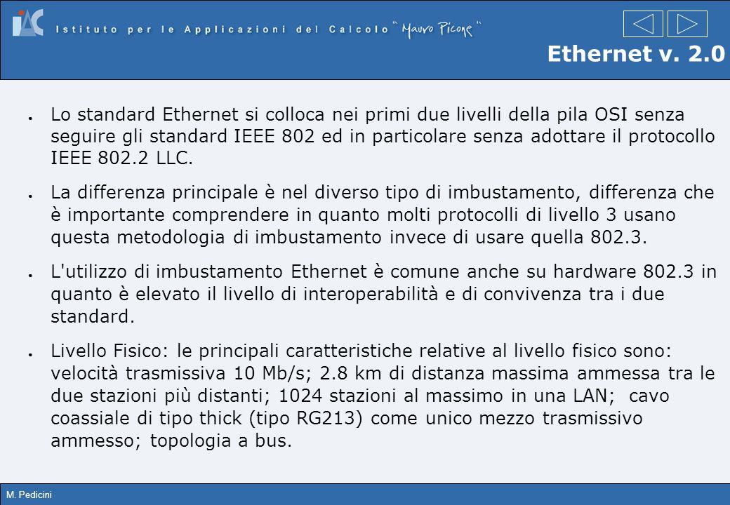 M. Pedicini Ethernet v. 2.0 Lo standard Ethernet si colloca nei primi due livelli della pila OSI senza seguire gli standard IEEE 802 ed in particolare