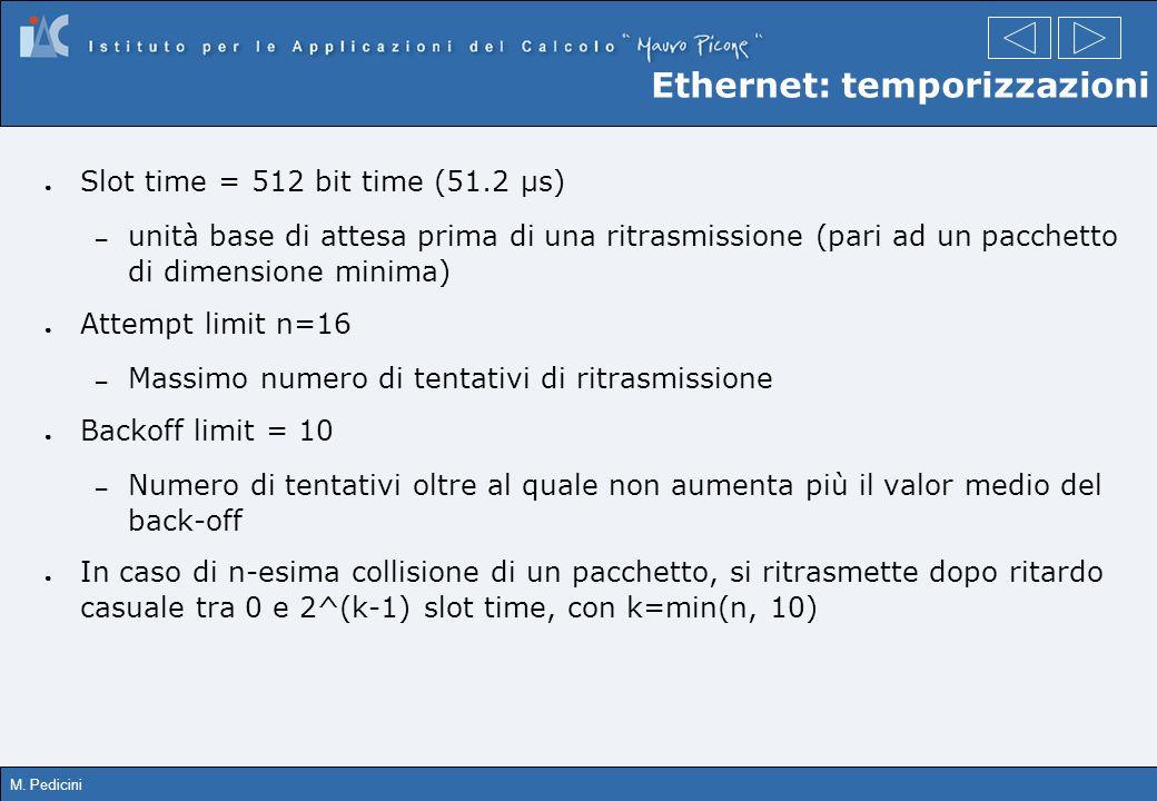 M. Pedicini Ethernet: temporizzazioni Slot time = 512 bit time (51.2 µs) – unità base di attesa prima di una ritrasmissione (pari ad un pacchetto di d