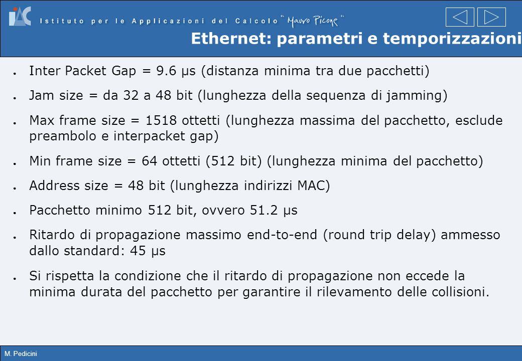 M. Pedicini Ethernet: parametri e temporizzazioni Inter Packet Gap = 9.6 µs (distanza minima tra due pacchetti) Jam size = da 32 a 48 bit (lunghezza d