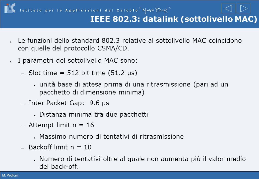 M. Pedicini IEEE 802.3: datalink (sottolivello MAC) Le funzioni dello standard 802.3 relative al sottolivello MAC coincidono con quelle del protocollo