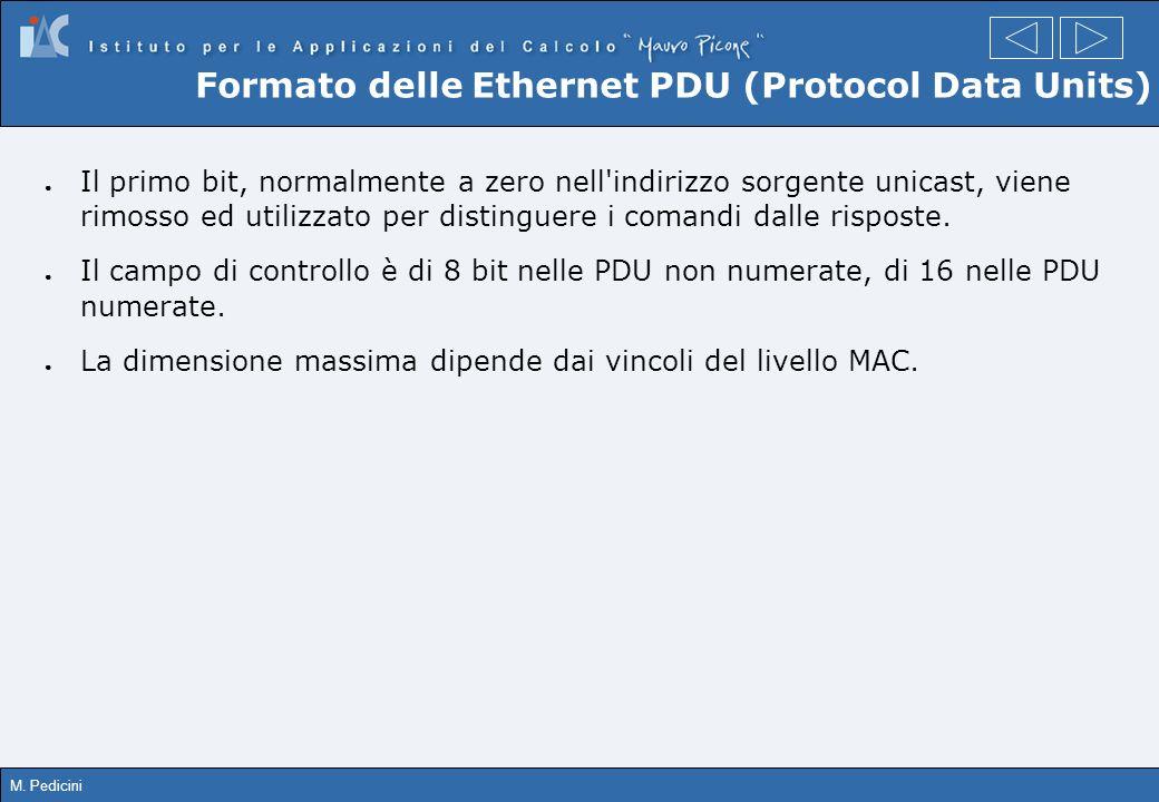 M. Pedicini Formato delle Ethernet PDU (Protocol Data Units) Il primo bit, normalmente a zero nell'indirizzo sorgente unicast, viene rimosso ed utiliz