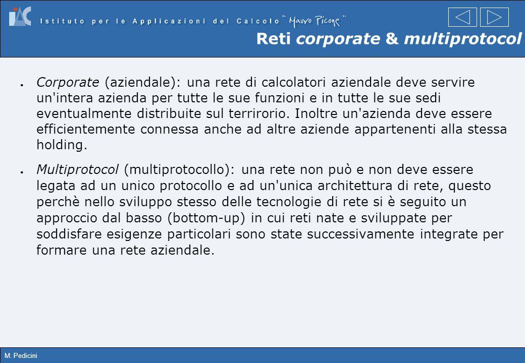 M. Pedicini Reti corporate & multiprotocol Corporate (aziendale): una rete di calcolatori aziendale deve servire un'intera azienda per tutte le sue fu
