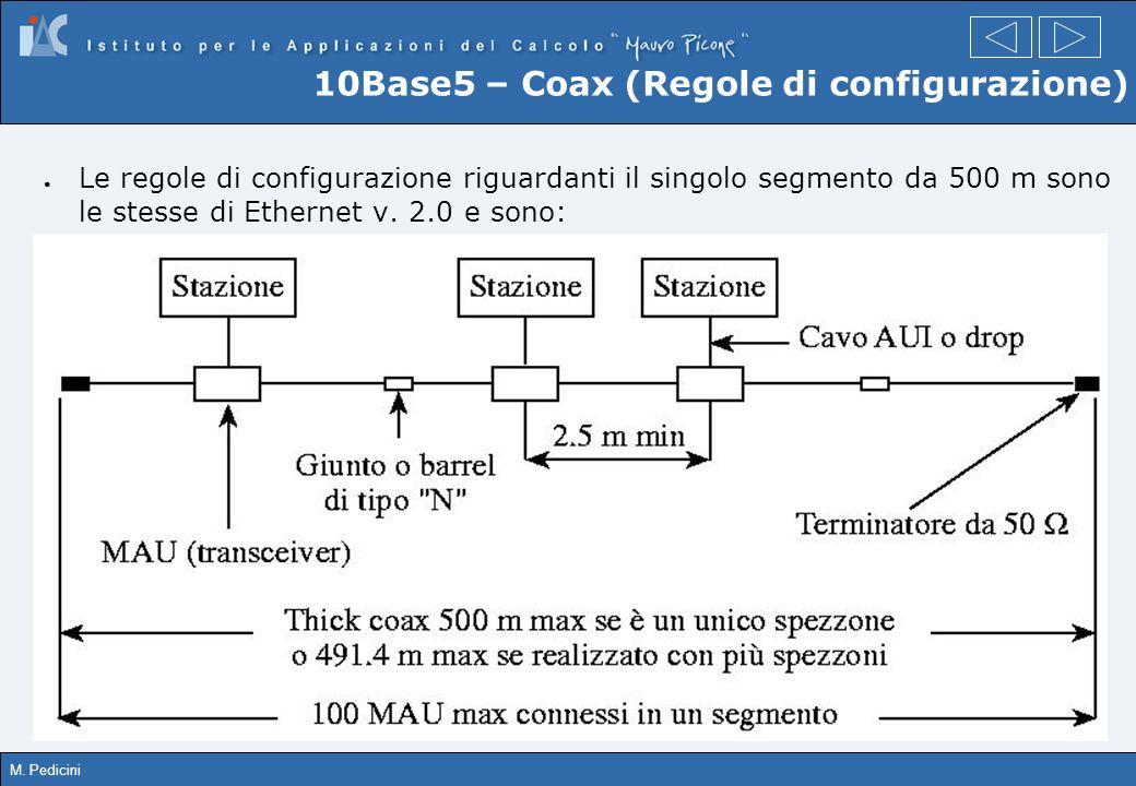 M. Pedicini 10Base5 – Coax (Regole di configurazione) Le regole di configurazione riguardanti il singolo segmento da 500 m sono le stesse di Ethernet