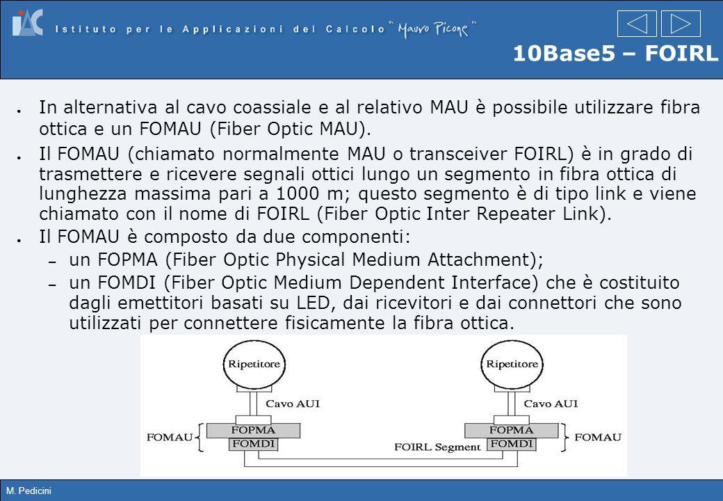 M. Pedicini 10Base5 – FOIRL In alternativa al cavo coassiale e al relativo MAU è possibile utilizzare fibra ottica e un FOMAU (Fiber Optic MAU). Il FO