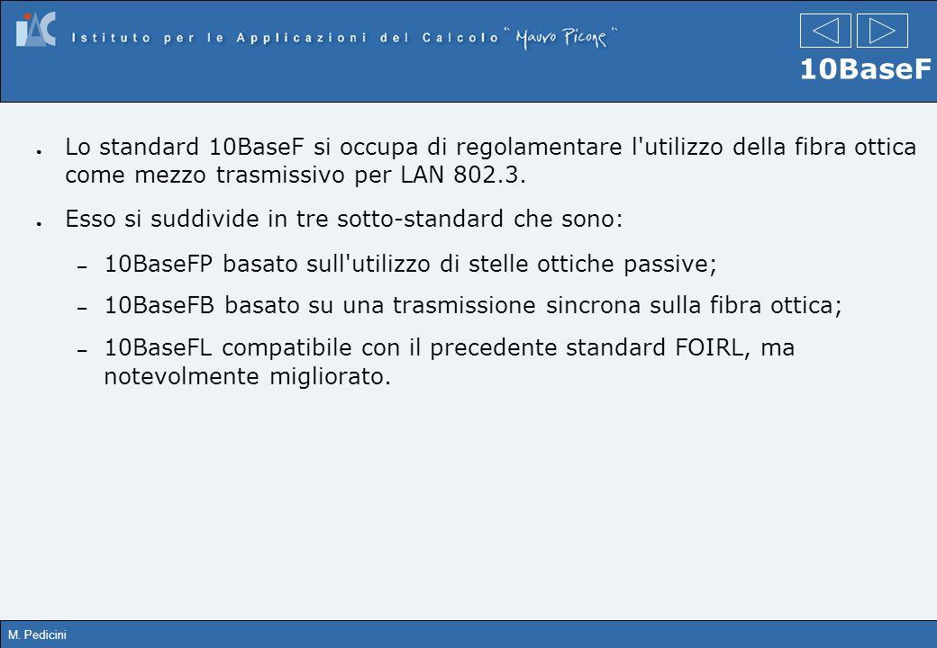M. Pedicini 10BaseF Lo standard 10BaseF si occupa di regolamentare l'utilizzo della fibra ottica come mezzo trasmissivo per LAN 802.3. Esso si suddivi