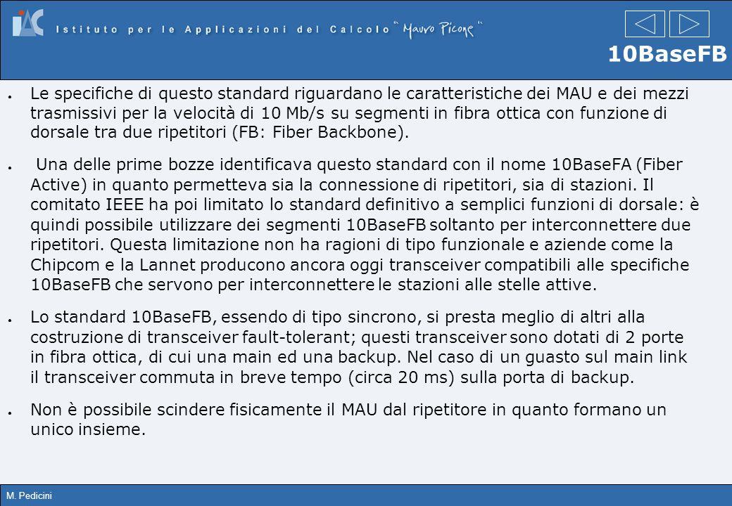 M. Pedicini 10BaseFB Le specifiche di questo standard riguardano le caratteristiche dei MAU e dei mezzi trasmissivi per la velocità di 10 Mb/s su segm