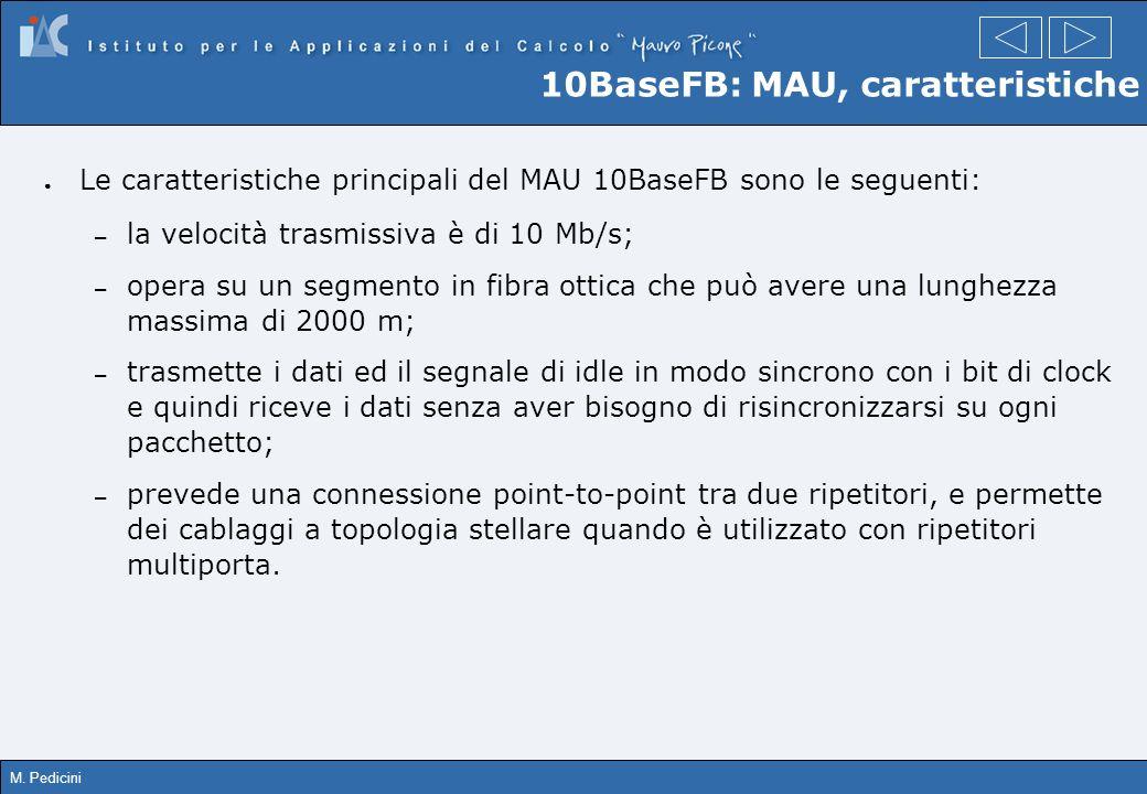 M. Pedicini 10BaseFB: MAU, caratteristiche Le caratteristiche principali del MAU 10BaseFB sono le seguenti: – la velocità trasmissiva è di 10 Mb/s; –