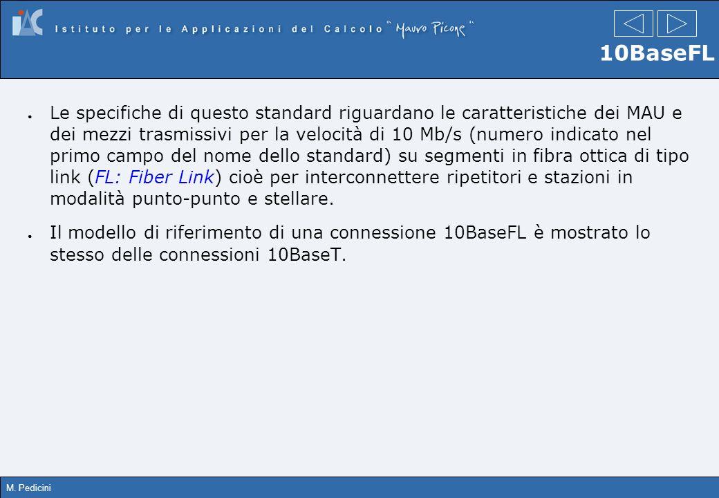 M. Pedicini 10BaseFL Le specifiche di questo standard riguardano le caratteristiche dei MAU e dei mezzi trasmissivi per la velocità di 10 Mb/s (numero