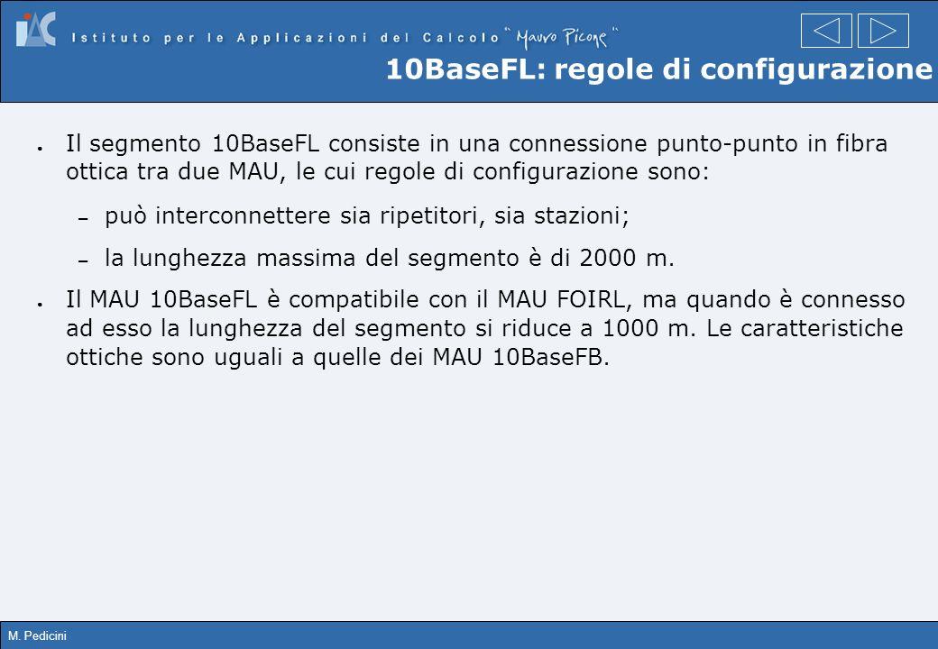 M. Pedicini 10BaseFL: regole di configurazione Il segmento 10BaseFL consiste in una connessione punto-punto in fibra ottica tra due MAU, le cui regole