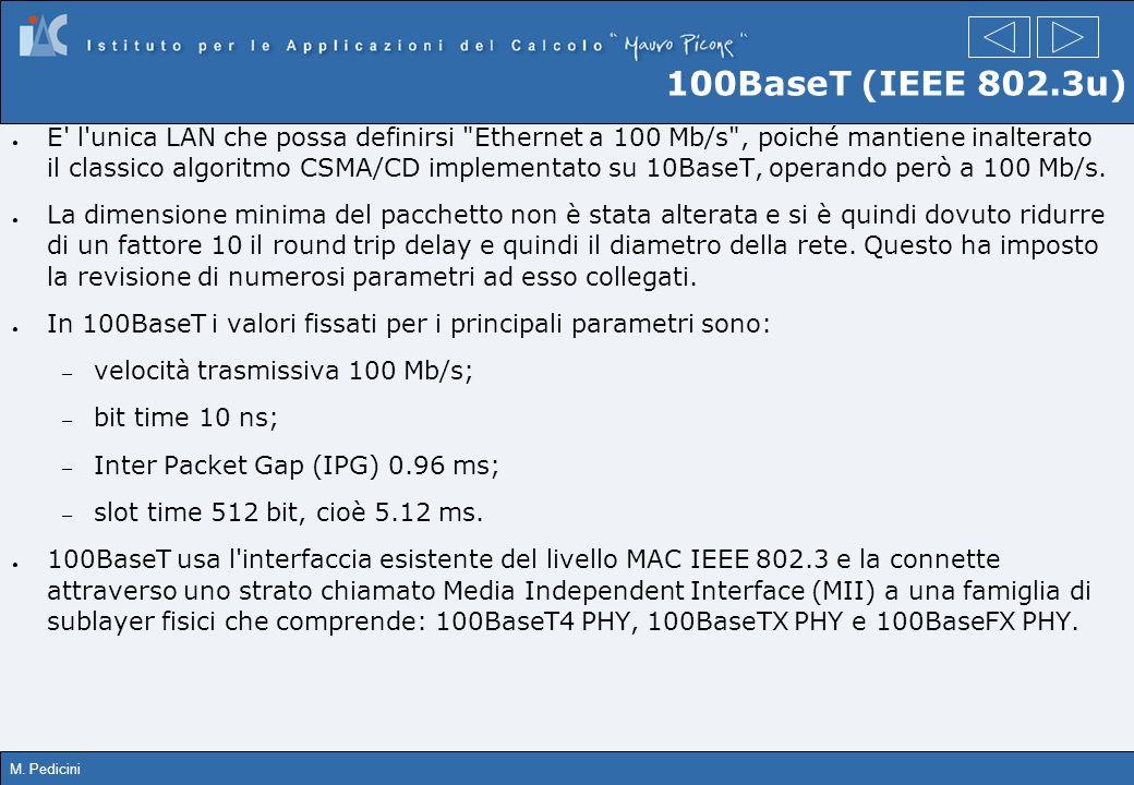 M. Pedicini 100BaseT (IEEE 802.3u) E' l'unica LAN che possa definirsi