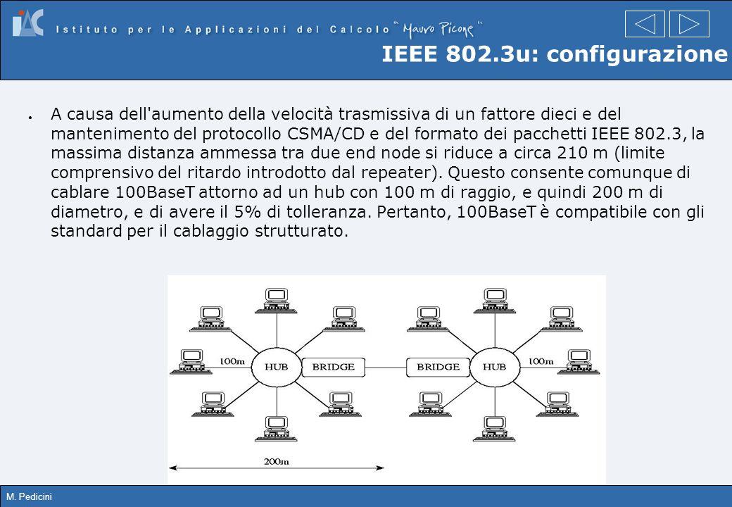 M. Pedicini IEEE 802.3u: configurazione A causa dell'aumento della velocità trasmissiva di un fattore dieci e del mantenimento del protocollo CSMA/CD