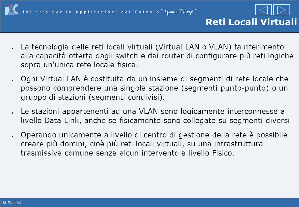 M. Pedicini Reti Locali Virtuali La tecnologia delle reti locali virtuali (Virtual LAN o VLAN) fa riferimento alla capacità offerta dagli switch e dai
