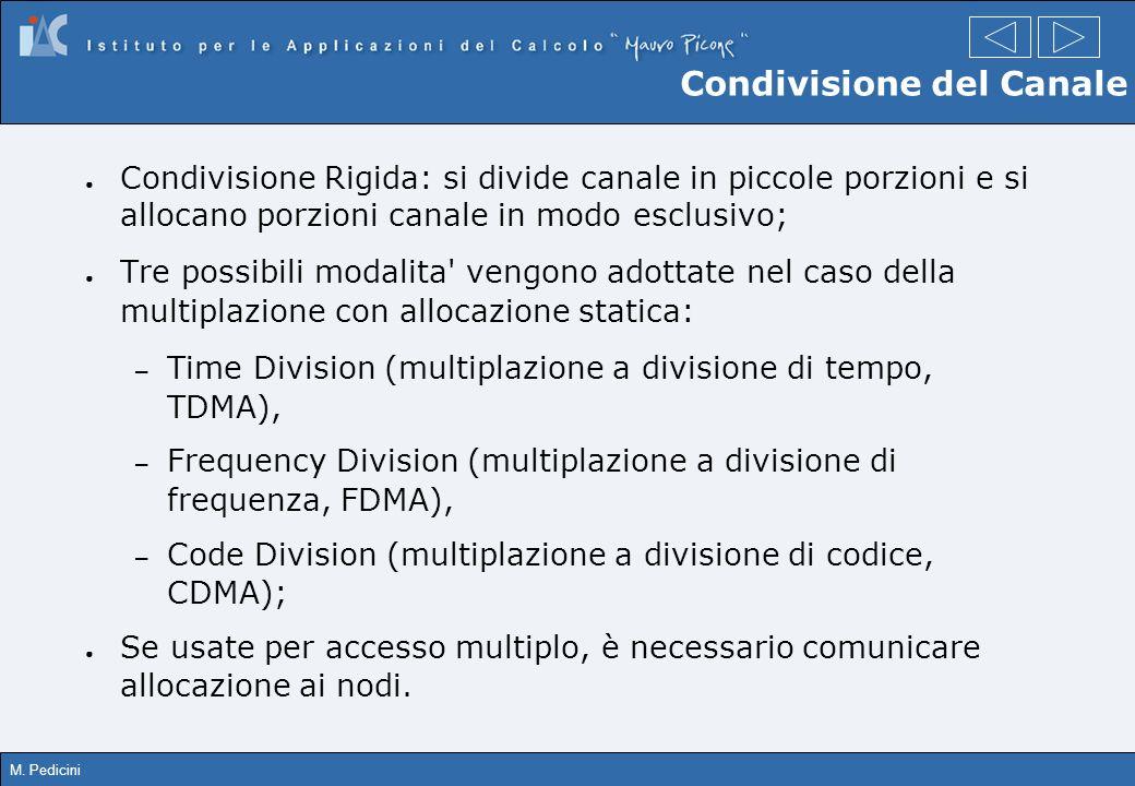 M. Pedicini Condivisione Rigida: si divide canale in piccole porzioni e si allocano porzioni canale in modo esclusivo; Tre possibili modalita' vengono