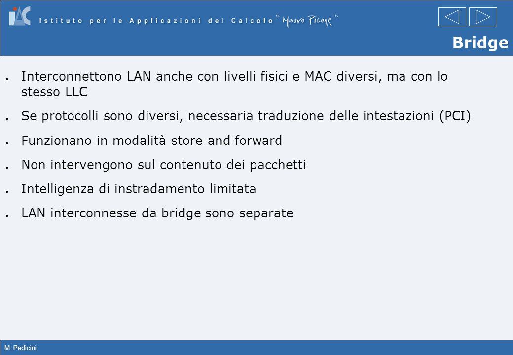 M. Pedicini Interconnettono LAN anche con livelli fisici e MAC diversi, ma con lo stesso LLC Se protocolli sono diversi, necessaria traduzione delle i