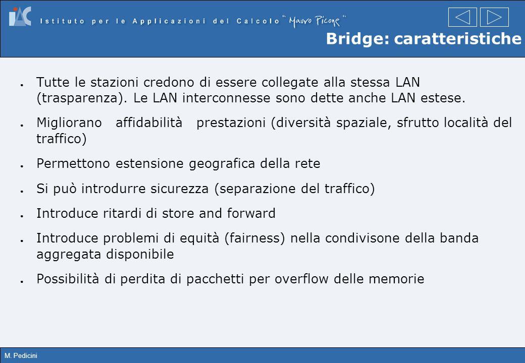 M. Pedicini Bridge: caratteristiche Tutte le stazioni credono di essere collegate alla stessa LAN (trasparenza). Le LAN interconnesse sono dette anche