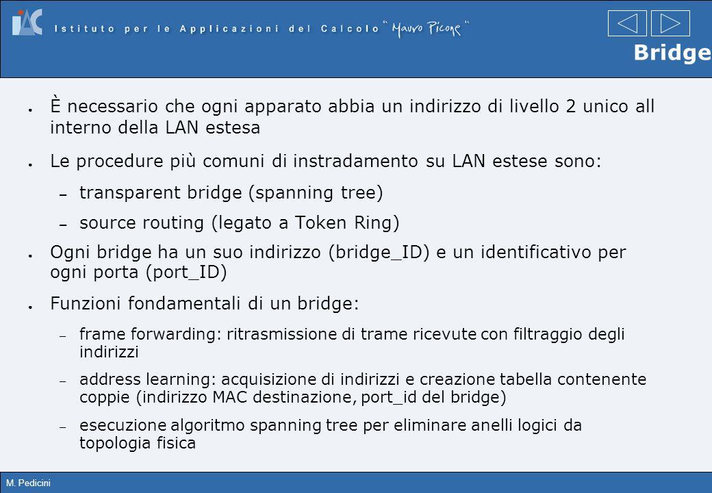 M. Pedicini Bridge È necessario che ogni apparato abbia un indirizzo di livello 2 unico all interno della LAN estesa Le procedure più comuni di instra