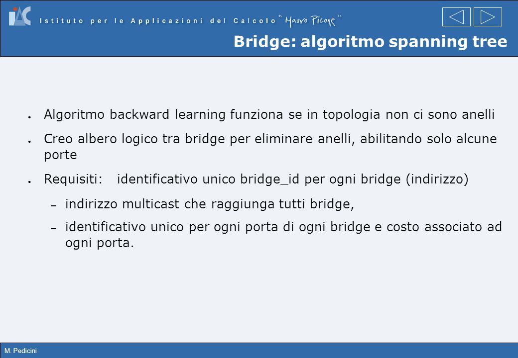 M. Pedicini Bridge: algoritmo spanning tree Algoritmo backward learning funziona se in topologia non ci sono anelli Creo albero logico tra bridge per