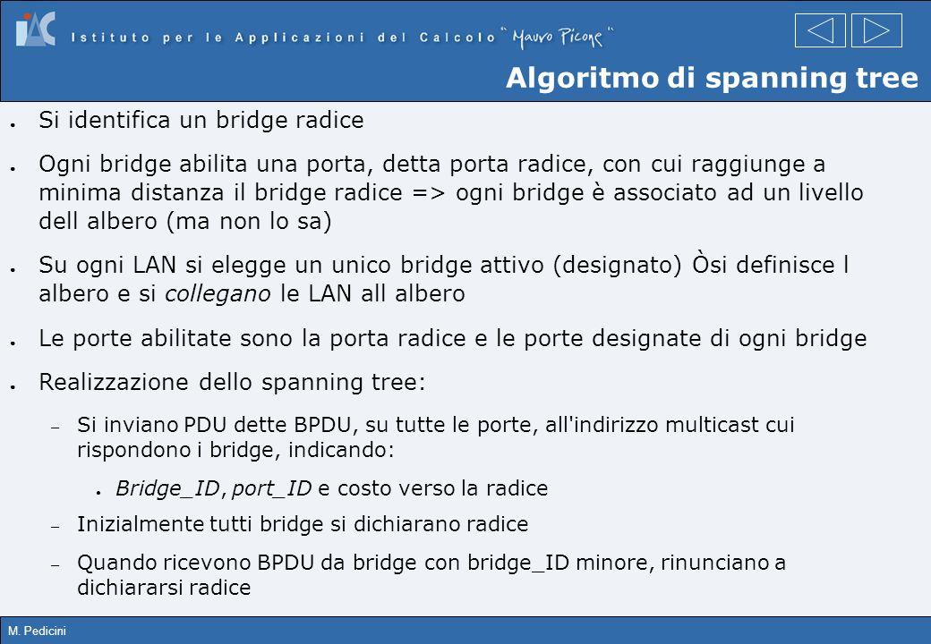 M. Pedicini Algoritmo di spanning tree Si identifica un bridge radice Ogni bridge abilita una porta, detta porta radice, con cui raggiunge a minima di