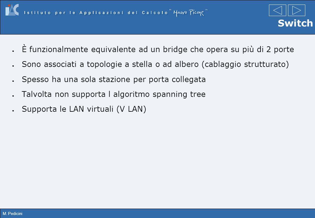 M. Pedicini Switch È funzionalmente equivalente ad un bridge che opera su più di 2 porte Sono associati a topologie a stella o ad albero (cablaggio st