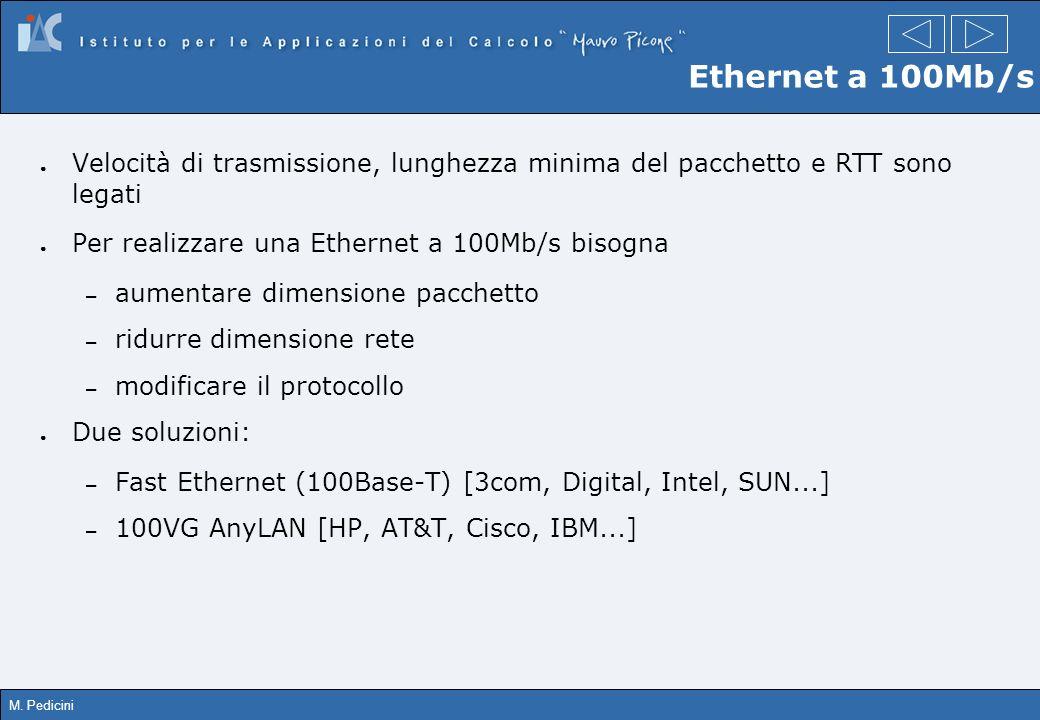 M. Pedicini Ethernet a 100Mb/s Velocità di trasmissione, lunghezza minima del pacchetto e RTT sono legati Per realizzare una Ethernet a 100Mb/s bisogn