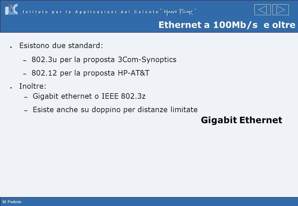 M. Pedicini Esistono due standard: – 802.3u per la proposta 3Com-Synoptics – 802.12 per la proposta HP-AT&T Inoltre: – Gigabit ethernet o IEEE 802.3z