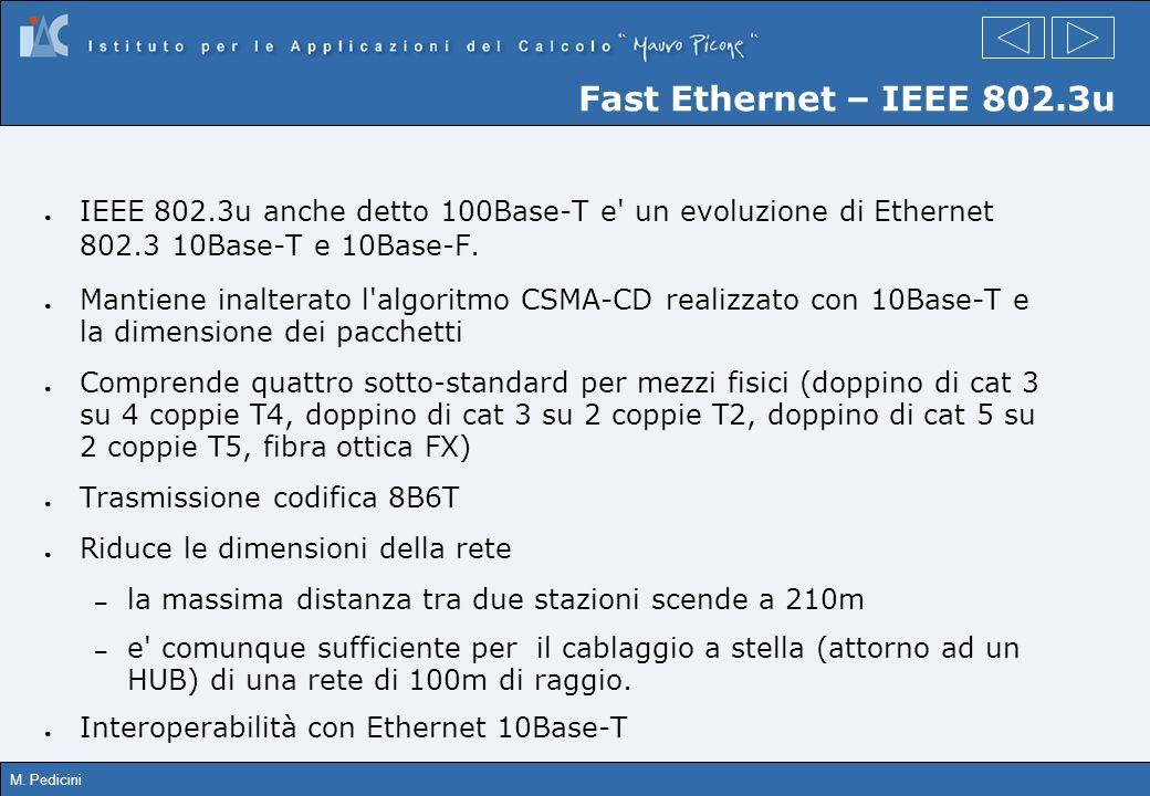 M. Pedicini Fast Ethernet – IEEE 802.3u IEEE 802.3u anche detto 100Base-T e' un evoluzione di Ethernet 802.3 10Base-T e 10Base-F. Mantiene inalterato
