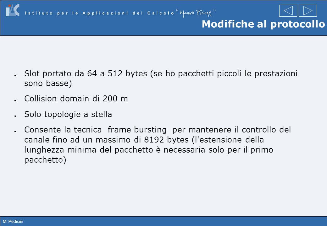 M. Pedicini Modifiche al protocollo Slot portato da 64 a 512 bytes (se ho pacchetti piccoli le prestazioni sono basse) Collision domain di 200 m Solo