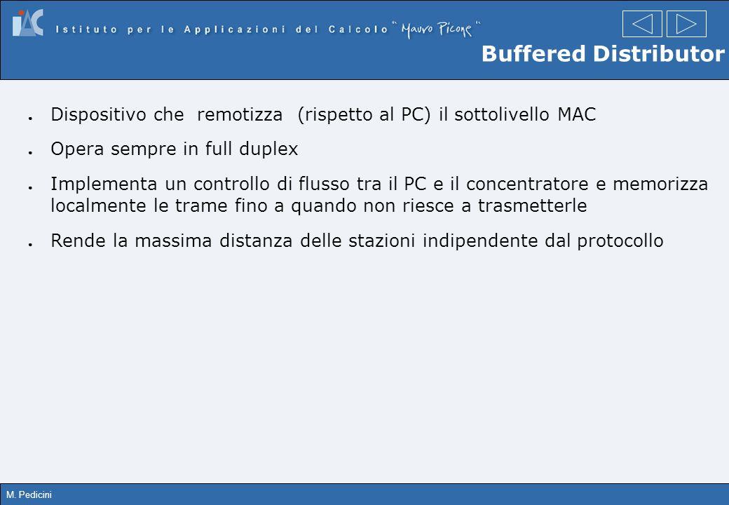 M. Pedicini Buffered Distributor Dispositivo che remotizza (rispetto al PC) il sottolivello MAC Opera sempre in full duplex Implementa un controllo di