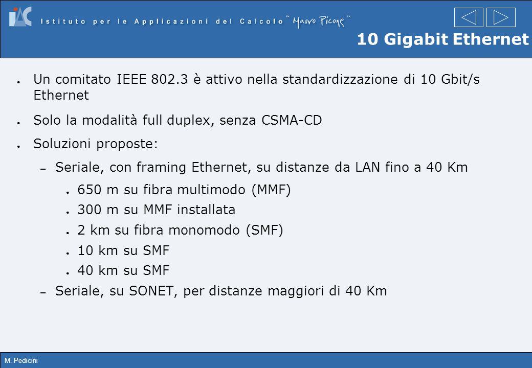 M. Pedicini 10 Gigabit Ethernet Un comitato IEEE 802.3 è attivo nella standardizzazione di 10 Gbit/s Ethernet Solo la modalità full duplex, senza CSMA